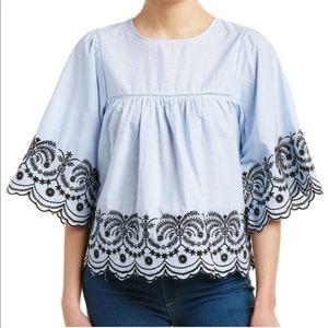 Zara Striped Embroidered Scalloped Hem Top XL